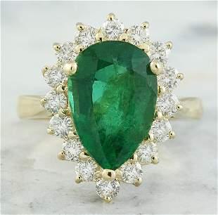 4.55 CTW Emerald 18K Yellow Gold Diamond Ring