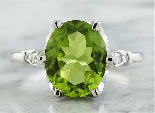 3.41 CTW Peridot 18K White Gold Diamond Ring