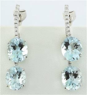 16.60 CTW Aquamarine 14K White Gold Duiamond Earrings
