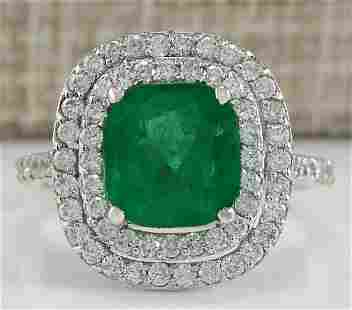 3.74 CTW Natural Emerald And Diamond Ring In 14K White