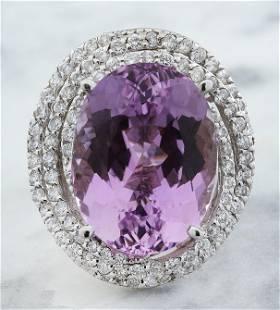 15.42 CTW Kunzite 14K White Gold Diamond Ring