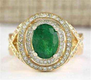 3.63 CTW Natural Emerald And Diamond Ring In 18K Yellow
