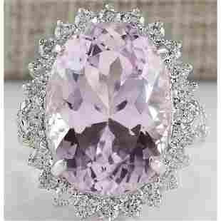 22.00 CTW Natural Kunzite And Diamond Ring In 14K White