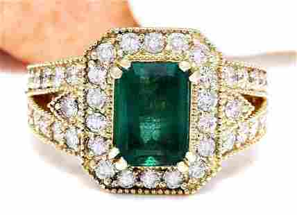 3.50 CTW Natural Emerald 14K Solid Yellow Gold Diamond