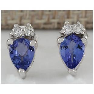 0.88 CTW Natural Blue Tanzanite And Diamond Earrings