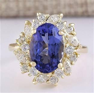 6.58 CTW Natural Tanzanite And Diamond Ring In 14k