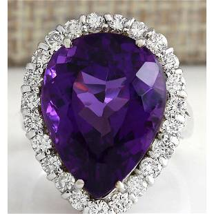 14.96 CTW Natural Amethyst And Diamond Ring In 18K