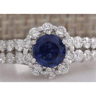 2.28CTW Natural Blue Sapphire Diamond Ring 18K Solid