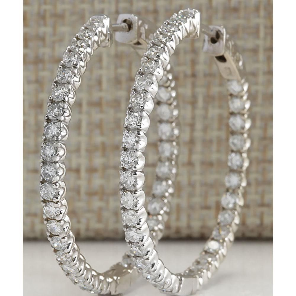 2.98 CTW Natural Diamond Hoop Earrings 14k Solid White