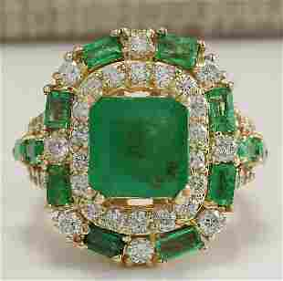 6.90 CTW Natural Emerald And Diamond Ring 14K Solid