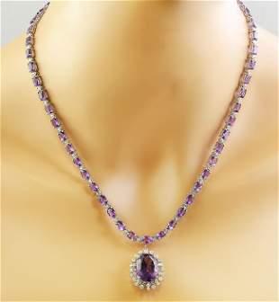 37.52 CTW Amethyst 14K White Gold Diamond Necklace