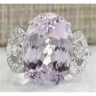 17.78 CTW Natural Pink Kunzite And Diamond Ring In 18K