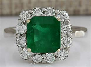 3.15 CTW Natural Colombian Emerald And Diamond Ring In