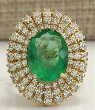 6.94 CTW Natural Colombian Emerald And Diamond Ring 14K