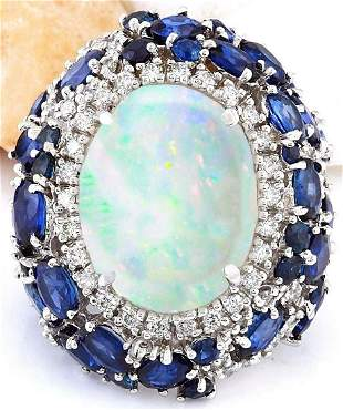 21.25 CTW Natural Opal, Sapphire 18K Solid White Gold