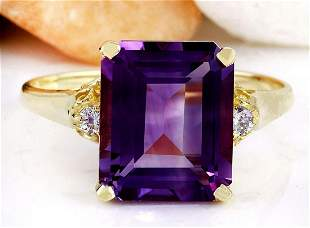 5.14 CTW Natural Amethyst 14K Solid Yellow Gold Diamond