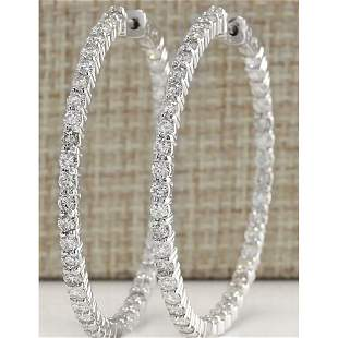 2.68 CTW Natural Diamond Hoop Earrings 14k Solid White