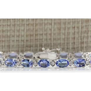 11.35 CTW Natural Tanzanite And Dimond Bracelet In 14k