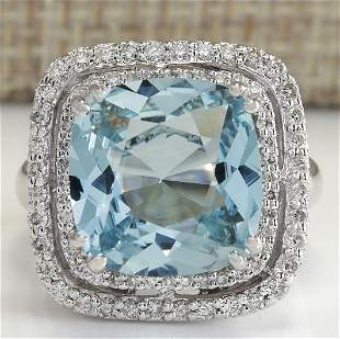 6.92 CTW Natural Aquamarine And Diamond Ring In 18K