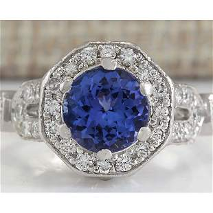 2.50 CTW Natural Blue Tanzanite And Diamond Ring In