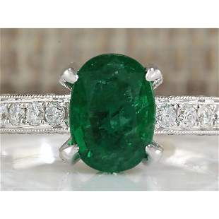 2.11 CTW Natural Emerald And Diamond Ring In 18K White