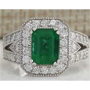 3.23 CTW Natural Colombian Emerald And Diamond Ring 18K