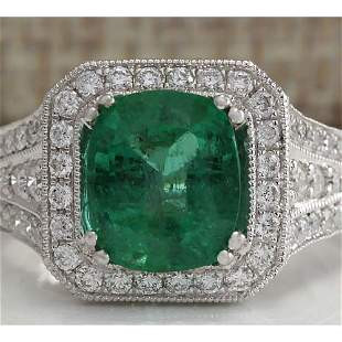4.30 CTW Natural Colombian Emerald And Diamond Ring 18K
