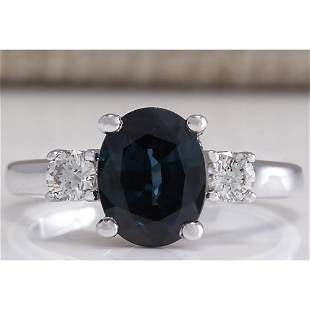 2.47 CTW Natural Blue Sapphire Diamond Ring 18K Solid