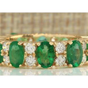 5.71 CTW Natural Emerald And Diamond Ring In 14K Yellow