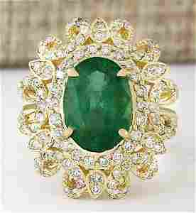 5.16 CTW Natural Emerald And Diamond Ring In 14k Yellow