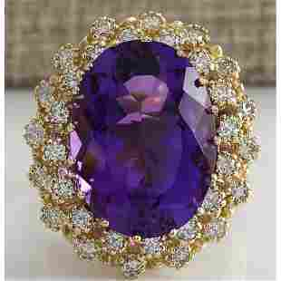 12.11 CTW Natural Amethyst And Diamond Ring In 14K