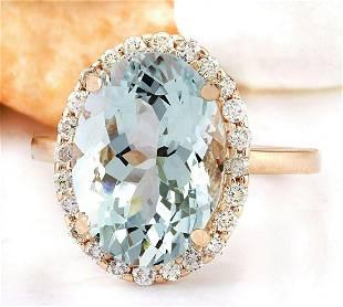 6.45 CTW Natural Aquamarine 18K Solid Rose Gold Diamond