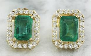 2.37 CTW Emerald 18K Yellow Gold Diamond Earrings