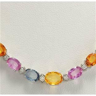 34.11 CTW Natural Ceylon Sapphire And Diamond Necklace