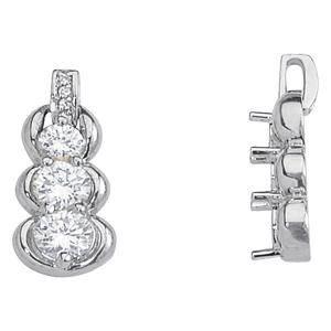 1.48 Carat Diamond Engagement 14K White Gold 3-Stone