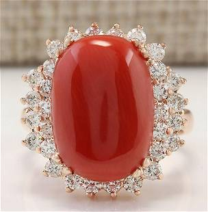 9.53 CTW Natural Coral And Diamond Ring In 14k Rose