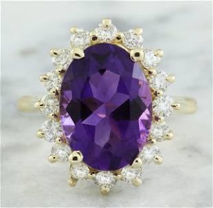 7.26 CTW Amethyst 18K Yellow Gold Diamond Ring