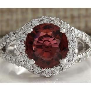 4.35 CTW Natural Pink Tourmaline And Diamond Ring 14K