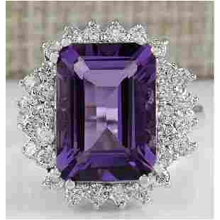 7.50 CTW Natural Amethyst And Diamond Ring In 18K White