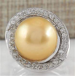 0.60 CTW Natural 13.47mm Gold South Sea Pearl Diamond