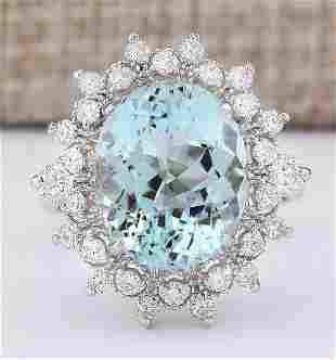 7.73 CTW Natural Aquamarine And Diamond Ring In 18K