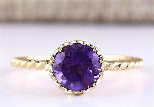1.50 CTW Natural Amethyst And Diamond Ring In 14k