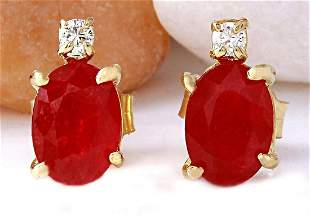 1.76 CTW Natural Ruby 18K Solid Yellow Gold Diamond