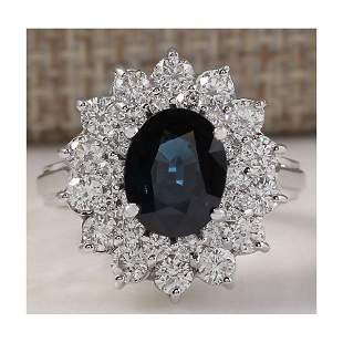 3.51 CTW Natural Blue Sapphire Diamond Ring 18K Solid