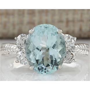 4.03 CTW Natural Blue Aquamarine Diamond Ring 18K Solid