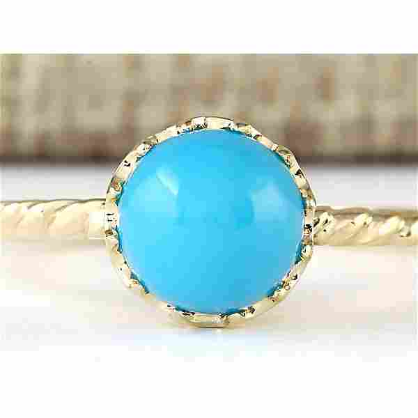 1.50 CTW Natural Turquoise Ring In 18K Yellow Gold