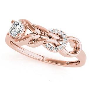 0.25 Carat Diamond Engagement 14K Rose Gold Love Knot