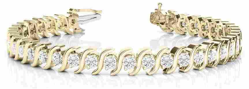 3.08 Carat Diamond Engagement 14K Yellow Gold Bracelet