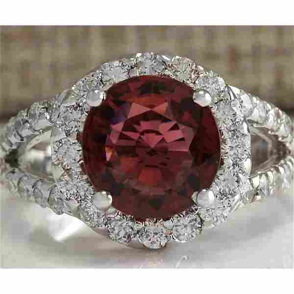 4.35 CTW Natural Pink Tourmaline And Diamond Ring 18K