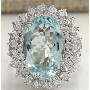 9.74 CTW Natural Aquamarine And Diamond Ring In 14K